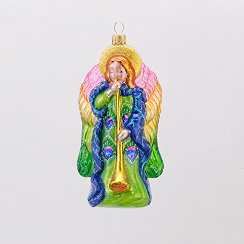 Kurt Adler David Strand Designs Glass Heavenly Music Peacock Angel Christmas Ornament 6