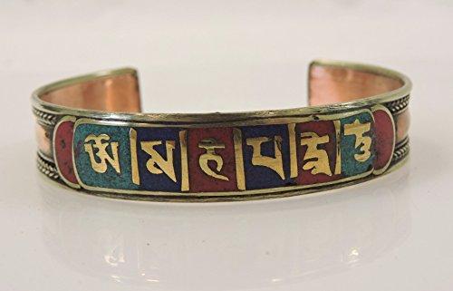 Handmade Tibetan Three Metal Healing Mantra Yoga Bracelet (3 color Red) by Hands Of Tibet (Image #1)