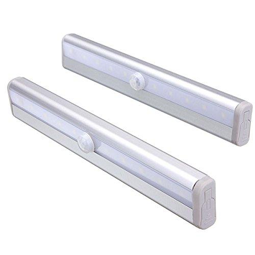 モーションセンサークローゼットライト、stick-on電池式10 LEDナイトライトバー、セーフライトforキャビネットワードローブ階段、2パックMeili 18.8*3*1.7cm ホワイト B07BP1ZT5K 17548