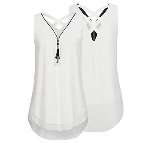 Hot Sales! Women's Chiffon Tank Tops,Toponly Women Sleeveless Tops Cross Back Hem Layed Zipper V-Neck Camisole Blouse T Shirts (White, XXXL)
