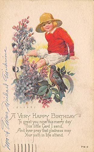 Christmas Post Card Old Vintage Antique Xmas Postcard Happy Birthday 1961 At Amazon S Entertainment Collectibles Store