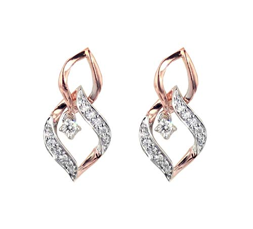 Womens Dangle Earrings Rose Gold-Tone Silver 1/4ctw Diamond Linked Leaf Pattern Diamond Earrings