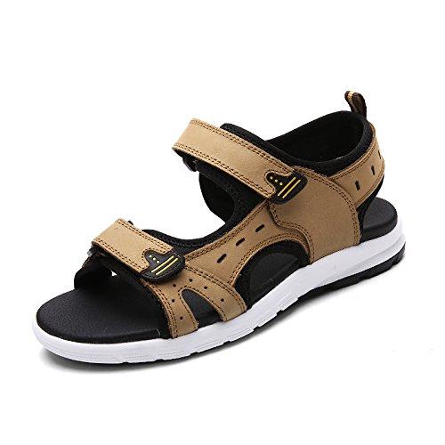 Antiskid Männer - Sandalen, Flut Kopf Layer - Strand, Atmungsaktive Schuhe,Khaki,Eu44