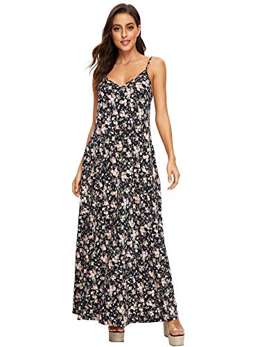 - Verdusa Women's Casual Sleeveless Deep V Neck Sexy Maxi Long Dress Cami Floral XS