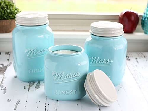 Mason Jar Kitchen Canister Set - Set of 3 Kitchen Canisters - Large, Round Ceramic Sets for Vintage, Rustic, or Farmhouse Look - Storage for Flour, Sugar, Tea, Coffee and More (Blue) (Vintage Blue Mason Jar)