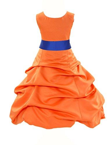 Buy blue and orange flower girl dresses - 5