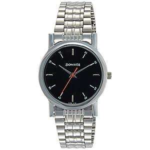 Sonata Analog Black Dial Men's Watch -NJ7987SM04W