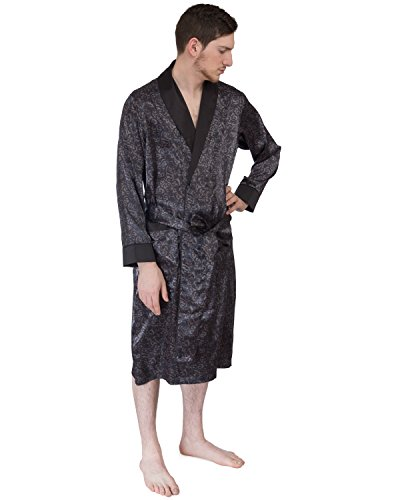 (Le Ferre International Mens classic Premium Long Lightweight Paisley Satin Robe - Nightwear - Loungewear - Bath Robe, Printed With 2 front Pockets)