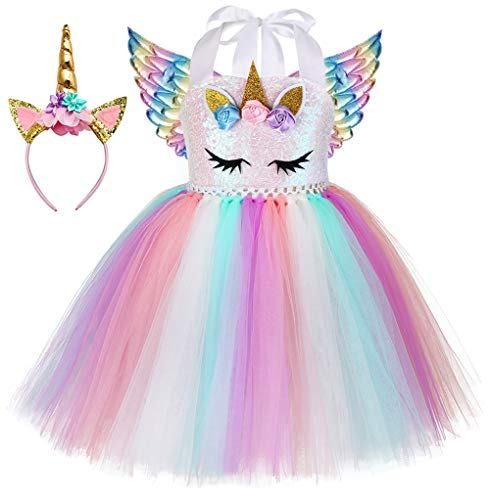 Tutu Dress Halloween Costume (Birthday Party Unicorn Costume Dress Up for Girls Princess Pageant Rainbow Flower Dress Costumes for Kids Size)
