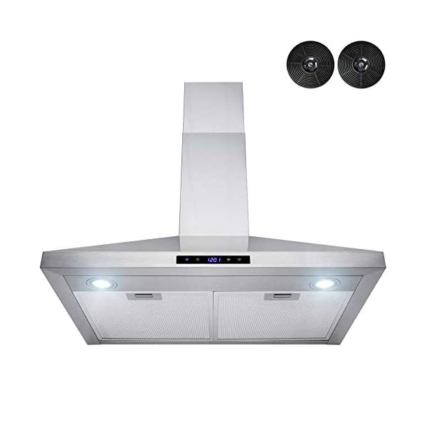AKDY Wall Mount Range Hood -30″ Stainless-Steel Hood Fan for Kitchen – 3-Speed Professional Quiet Motor – Premium Touch Control Panel – Modern Design – Carbon Filters & LED Lamp