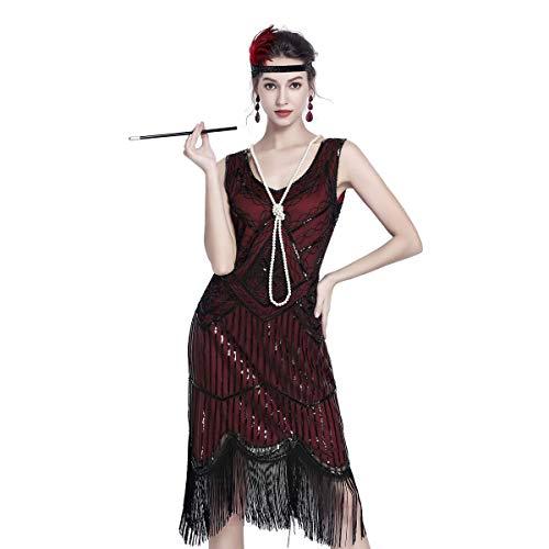 Gatsby Dresses for Women 20s Dresses for Women Sequin Flapper Beaded Tassels Hem Great Gatsby Themed Roaring 20s Dresses Burgundy -