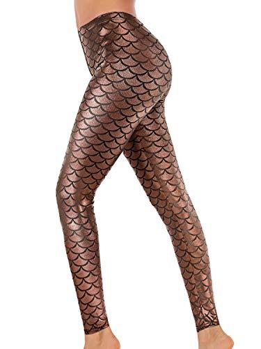 Alaroo Women Shiny Mermaid Print Scale Leggings Brown L]()