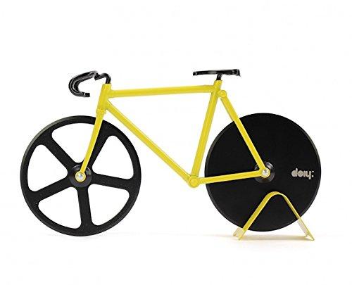 Pizza Cutter - Bicycle Pizza Cutter: Black & Yellow (Bike Pizza Cutter Fixie)