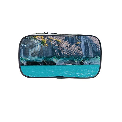 Polychromatic OptionalPen Bag,Turquoise,Marble Caves of Lake General Carrera Chile South American Natural,Turquoise Purplegrey Green,for Kids,Diversified Design