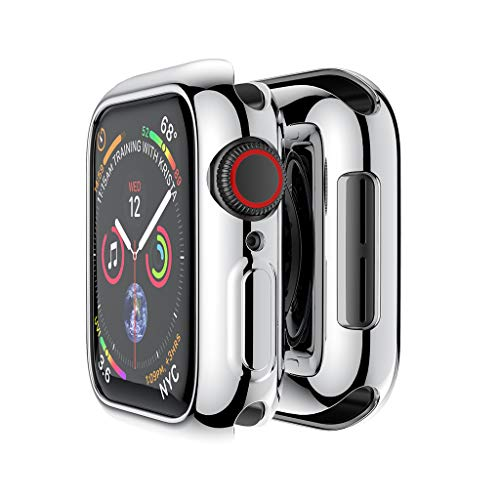 Haluoo for Apple Watch Series 4 40mm Case Protector, Ultra Thin Shock Proof Case Soft Plating TPU Protective Bumper Cover for iWatch Apple Watch Series 4 40mm (Silver)