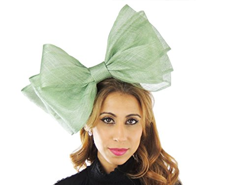 Hats By Cressida Ladies Sinamay Bow Ascot Fascinator Hat With Headband Mint Green by Hats By Cressida