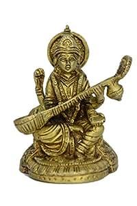 Latón puro metal estatua de Saraswati (la diosa del arte y conocimiento) con guitarra Saraswati ( Veena) en latón fino trabajo de metal por la Bharat Haat BH00755