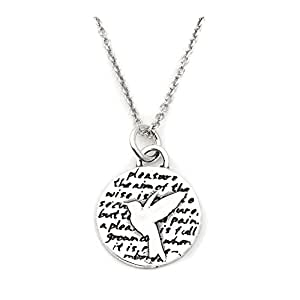 Kevin N Anna Hummingbird (Pleasure quote) Sterling Silver Small Pendant Necklace