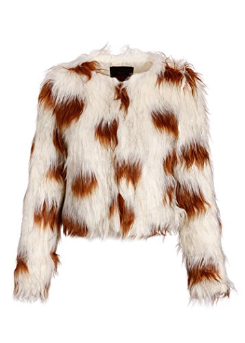 Womens Collarless Long Sleeve Faux Fur Shaggy Jacket – Size Medium