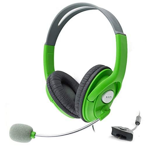 Pudincoco Cuffie da Gioco Microfono Regolabile per Xbox 360 Cuffie Stereo a cancellazione di Rumore (Verde)