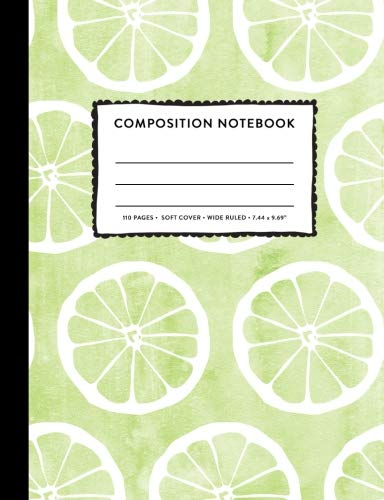 Composition Notebook: Lime Green Pastel Citrus Fruit Watercolor Wide Ruled Primary Copy Book, SOFT Cover Kids Elementary School Supplies Student Teacher Daily Creative Writing Journal, 110 Pages