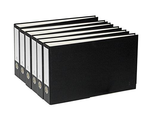 3 2 Binder Ring Removable (Bindertek 3-Ring 2-Inch Premium Linen Textured Ledger Binder 6-Pack, For 11 x 17 Paper, Black (3LDGPACK-BK))
