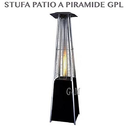 Estufa eléctrica con forma de pirámide de gas GLP con ruedas, bombona 15 kg,