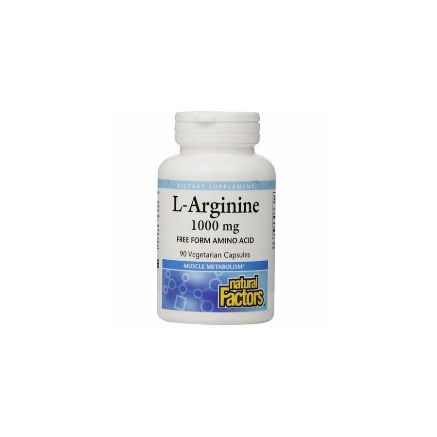 Natural Factors L Arginine Free Form Amino Acid 1000mg Supports Muscle Metabolism