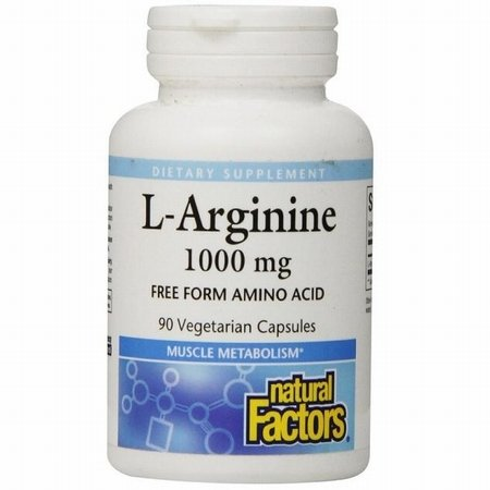 Natural Factors L Arginine Free Form Amino Acid 1000mg Supports Muscle Metabolism