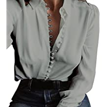 Ankola Blouse, Women's Long Sleeve Button Down Lapel Shirt Casual Solid Color Tops