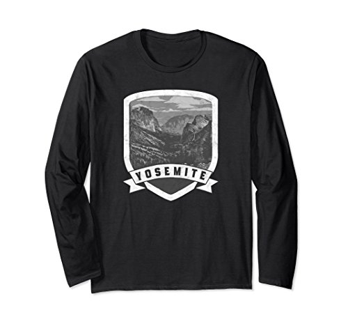 Unisex Yosemite Valley Badge - National Park Long Sleeve Tee Shirt XL: Black -