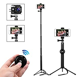Bluetooth Selfie Stick, MWAY Portable Phone Tripod Camera Stand with Remote Control And Universal Clip, Extendabale Monopod for iPhone X, iPhone 8/7/6, Galaxy Note 8/S8, Gopros, DSLR, Cameras