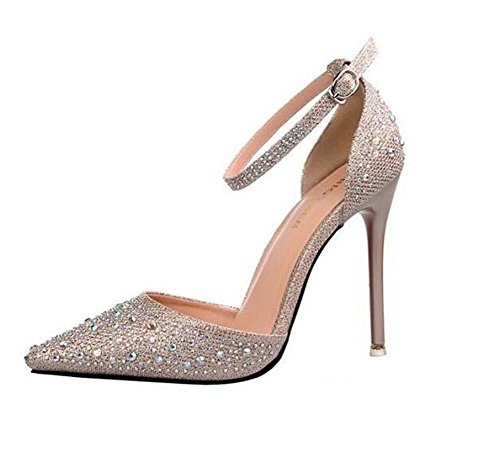 Heel Gray Summer Glitter Black Gold for Dress out Stiletto Sparkling Women's Party amp; Evening Shoes Silver Gold MHX Pink Wedding Buckle Spring Hollow Leatherette f1IxqY