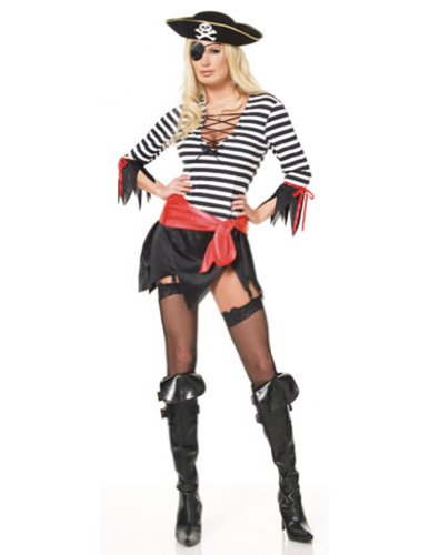 Four Piece Sexy Swashbuckler Costume,Black/White/Red,Medium /