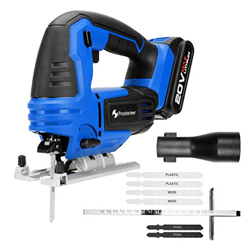 (PROSTORMER 20V Max Cordless Jig Saw with LED, Variable Speed, Tool-free Bevel Cutting Adjustment, 6 Pieces Blades, Scale Ruler, 2.0Ah Lithium-Ion Battery and Fast Charger)