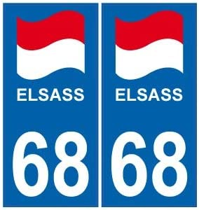 12 Stickers style immatriculation ELSASS 68 style plaque région Alsace