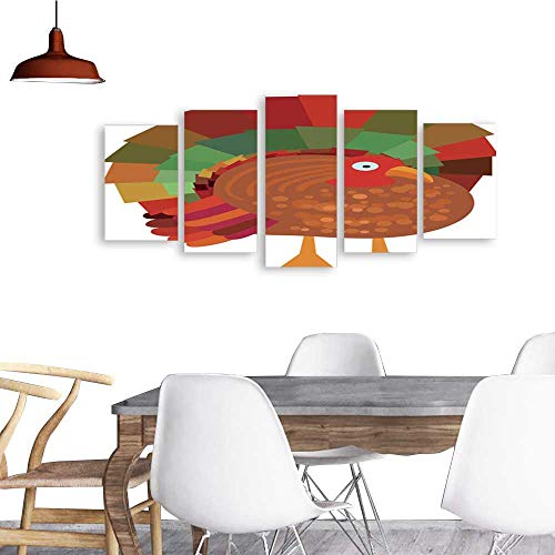 UHOO Landscape Artwork Canvas Prints Beautiful Colorful Cartoon Turkey Bird.Home Decorations Wall Decor]()