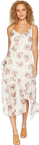 (1.State Women's Wildflower Ruffled Slip Dress Soft Ecru Large)