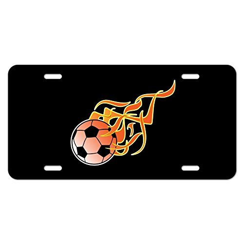 Teisyouhu License Plate Cover for Men Soccer Ball Football Cartoon Flames Car Tag Covers Auto Sign by Teisyouhu
