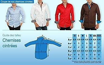 Meadrine Chemise Homme Rouge Slim-Fit doublures à Pois Noirs-Blancs