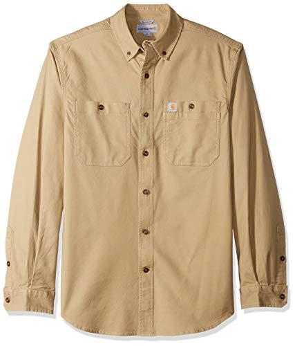 Carhartt Men's Big Big & Tall Rugged Flex Rigby LS Work Shirt, Dark Khaki, X-Large Tall ()