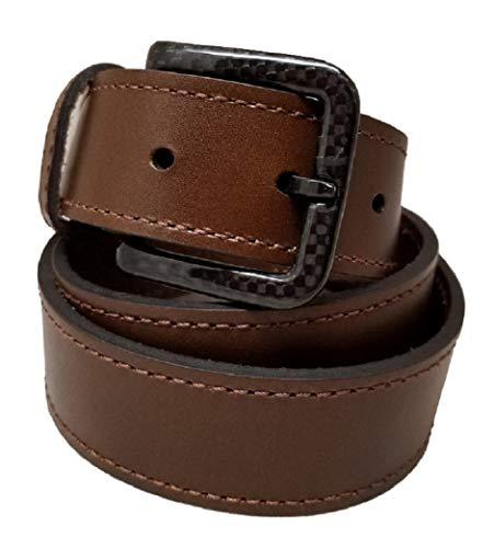 - New Ferrer Men's Leather Metal free Belt: Carbon Fiber Buckle: Airport Friendly: Hypoallergenic TSA Belt (Dark Brown, 30
