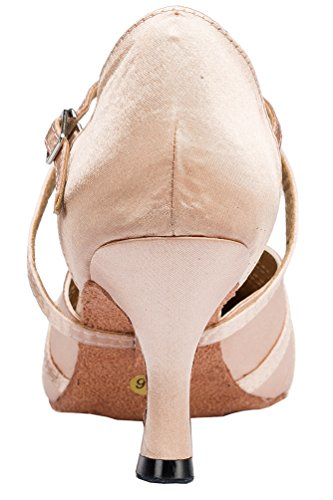 Cha Womens Mid Closed Heel Dance Ballroom Toe Satin Wedding Shoes Latin Light cha Pink Party YYM Salabobo L117 xFEwRnq0nB