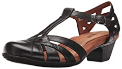 Influenced by European styling, mid heel with adjustable straps