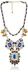 """Purple by M. Haskell Blue Multi-Colored Faceted Bead Statement Necklace, 16"""" + 3"""" Extender"""