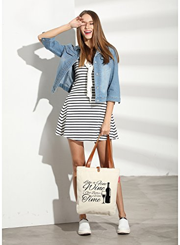 So'each Women's I Get Better Letters Graphic Top Handle Canvas Tote Shoulder Bag