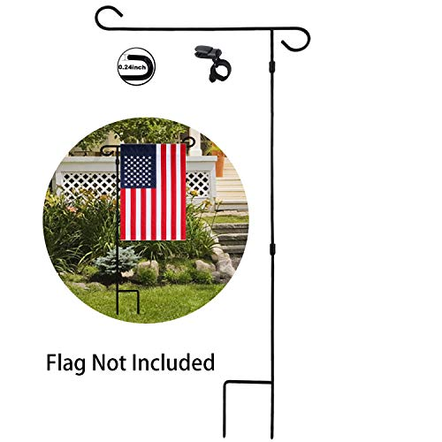 HOOSUN Garden Flag Stand Holder Pole Easy to Install Strong Sturdy Wrought Iron Fits 12.5