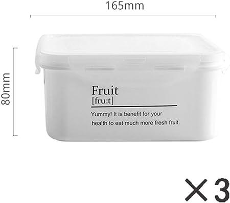 Refrigerador Caja De Almacenamiento De Frutas Caja De Almacenamiento De Cocina De PláStico PP con Tapa Cuadrada Caja Sellada para Alimentos,4: Amazon.es: Hogar