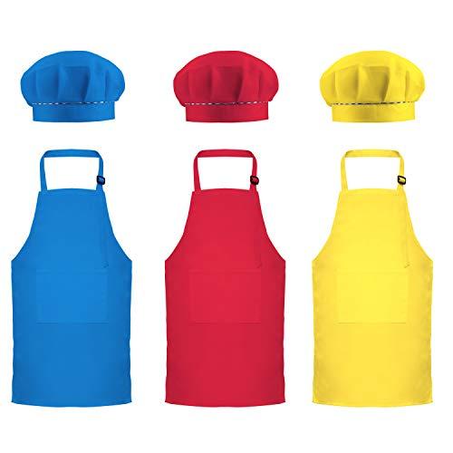 Favourde 6 Pieces Kids Chef Hat Apron Set, Boys Girls Adjustable Cotton Aprons Kitchen Bib Aprons with 2 Pockets for Kitchen Cooking Baking Wear (Color Set 2, Large)