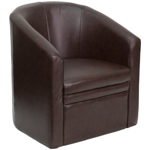 (Flash Furniture Brown Leather Barrel-Shaped Guest Chair)